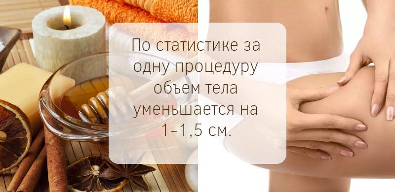 За одну процедуру обертывания медом объем тела уменьшается на 1-1,5 сантиметра